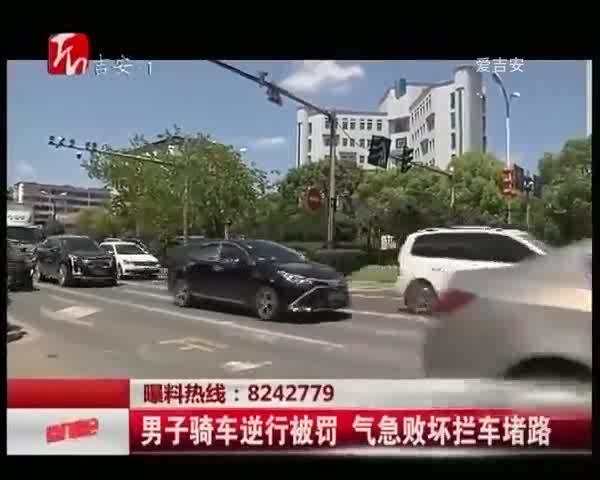 男子骑车逆行被罚 气急败坏拦车堵路